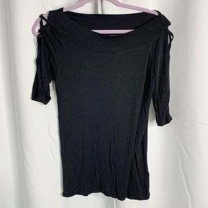 maurices black 3/4 sleeve open weave blouse M